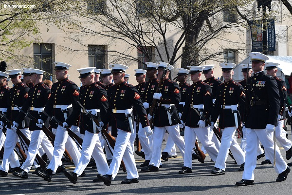 Marines in Uniform at 2018 National Cherry Blossom Parade in Washington D.C.