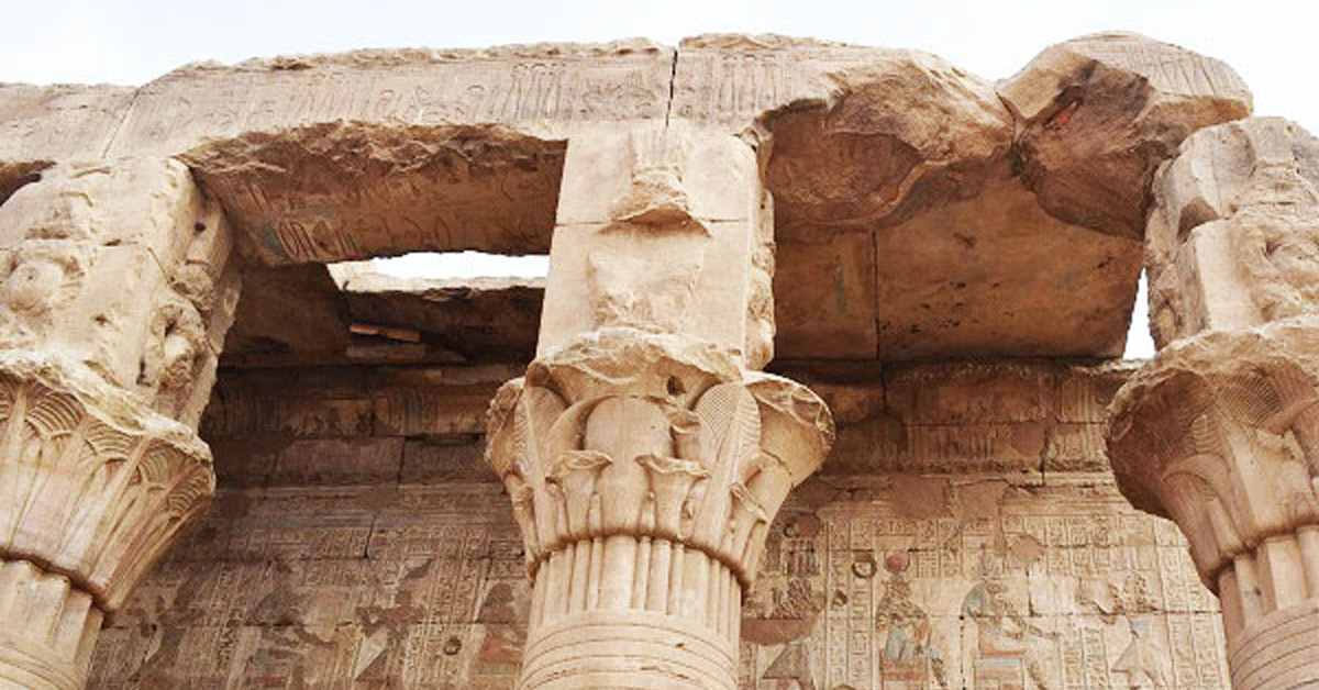 Pillars inside the Temple of Edfu.