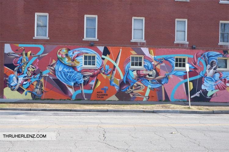 Street art mural on side of Tulsa building