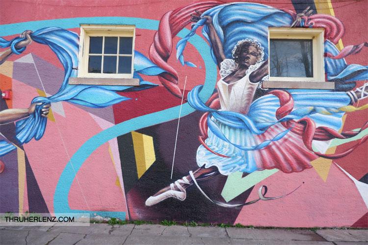 Black ballerina street art in Tulsa, Oklahoma