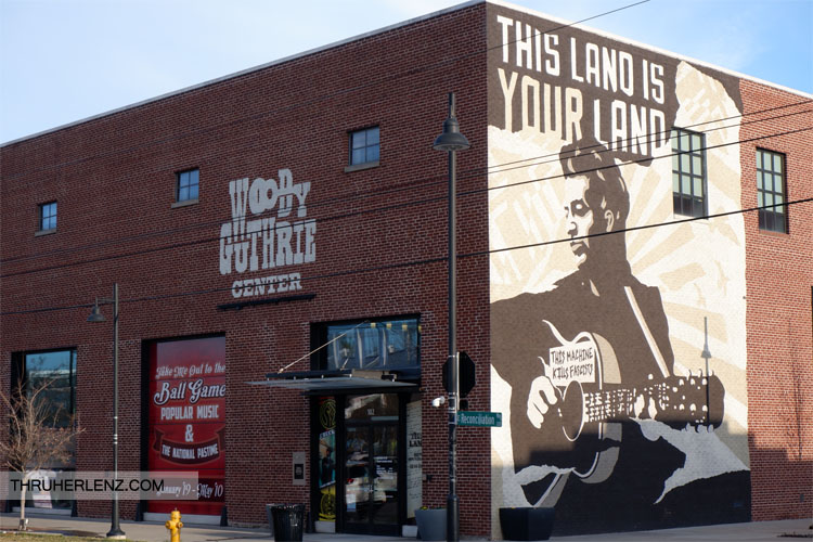 Woody Guthrie This Land is your Land street mural in Tulsa, Oklahoma