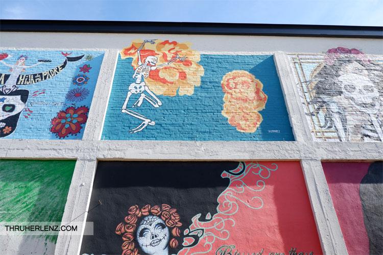 Skeleton street art in Tulsa, Oklahoma