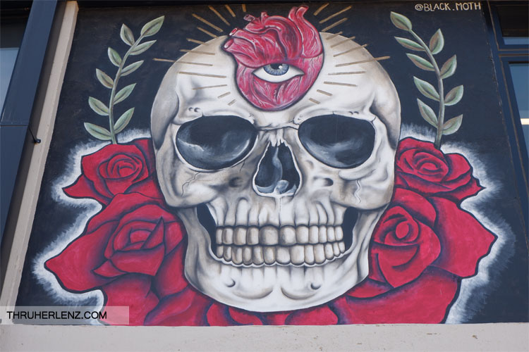 Skeleton with third eye mural in Tulsa