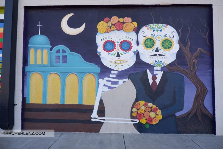 Skeleton bride and groom street art in Tulsa