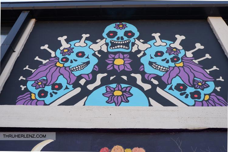 Blue skeleton street art in Tulsa Oklahoma