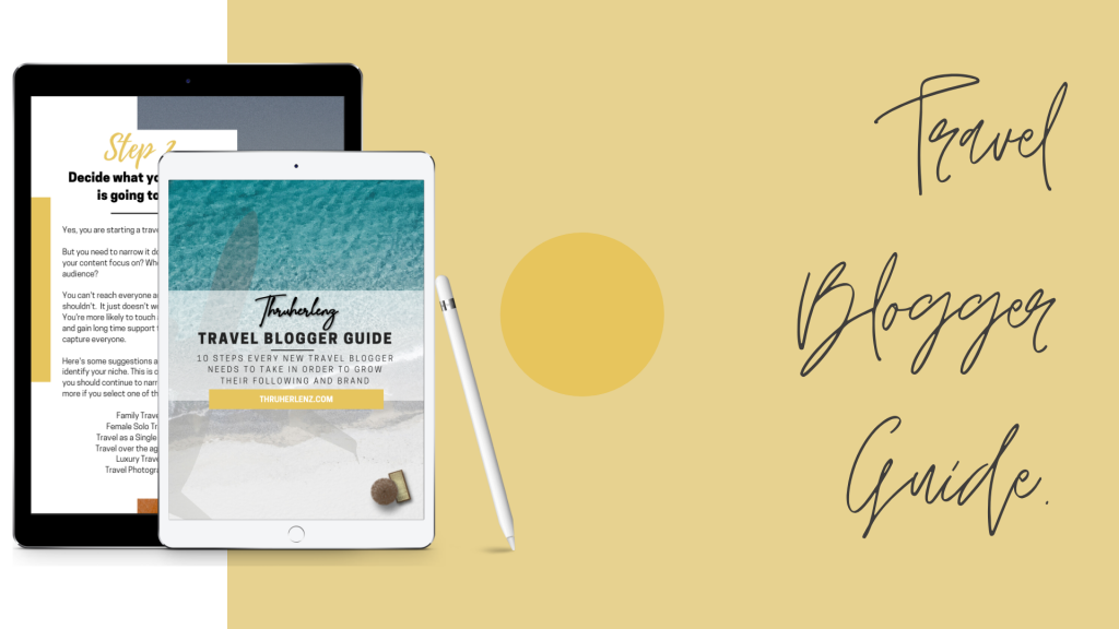 Travel blogger guide mockup with PDF guide