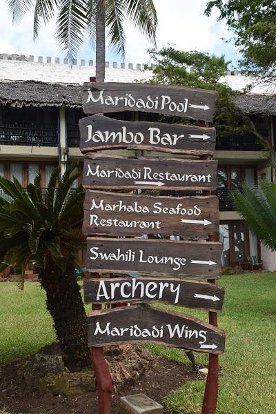 sign at baobab diani beach resort