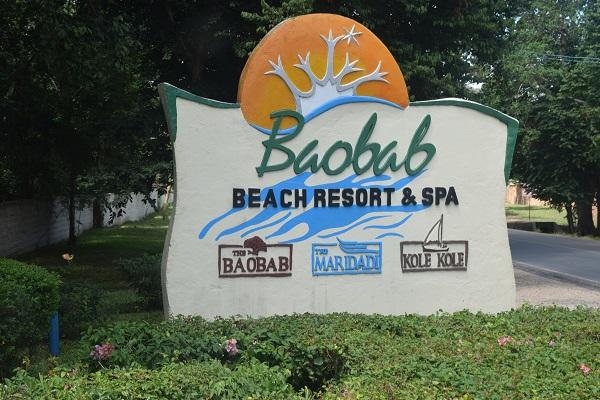 Baobab beach resort sign in Kenya