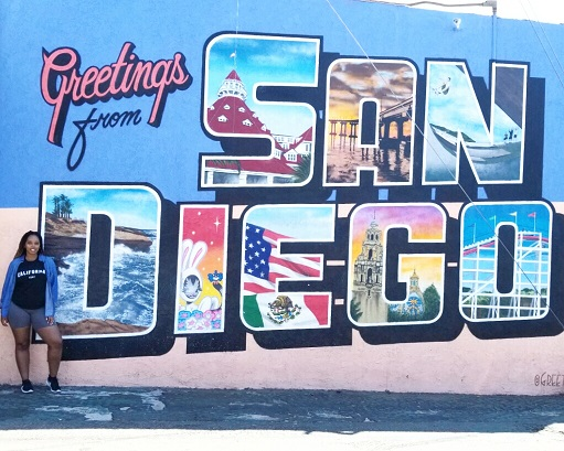 Greetings from San Diego Street Mural sign in California