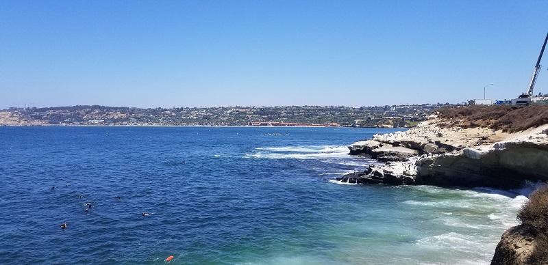La Jolla Cove cliffs and ocean water