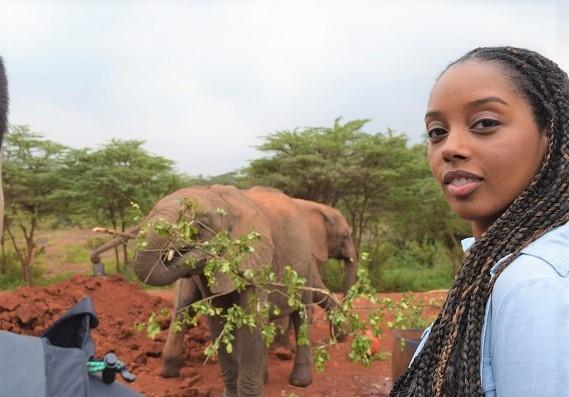 Lenzee at the Nairobi elephant orphanage in Kenya