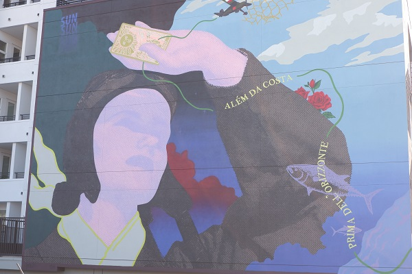 Woman street mural in Little Italy neighborhood in San Diego, California