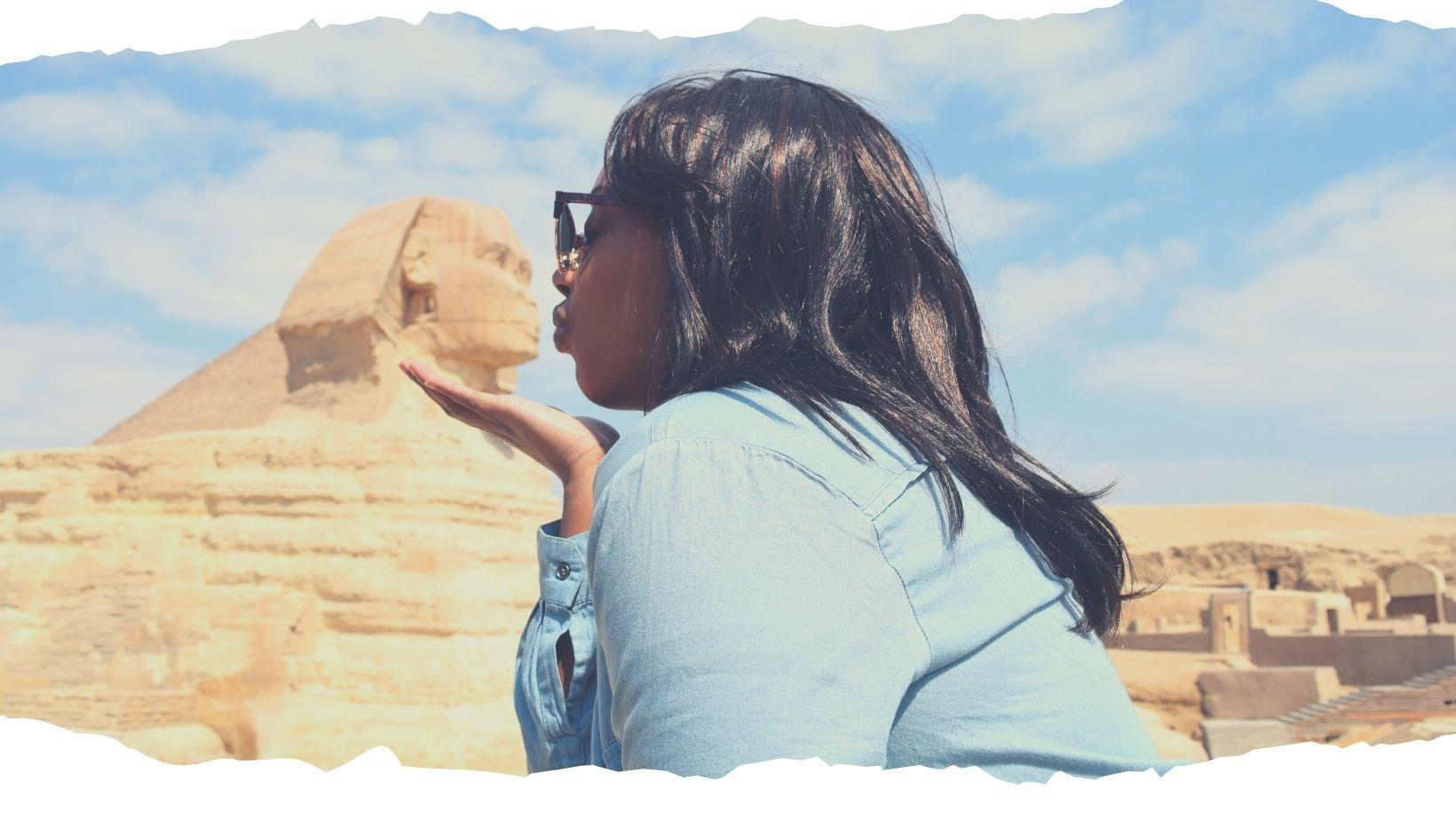 FrontPage ThruHerLenz Black Travel blogger kissing Egyptian Sphinx