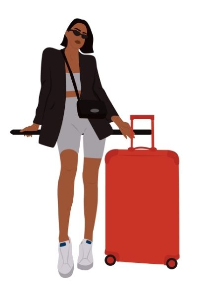 Digital Illustration of woman with short hair, suitcase, biker shorts and blazer for a cute outfit for the airport