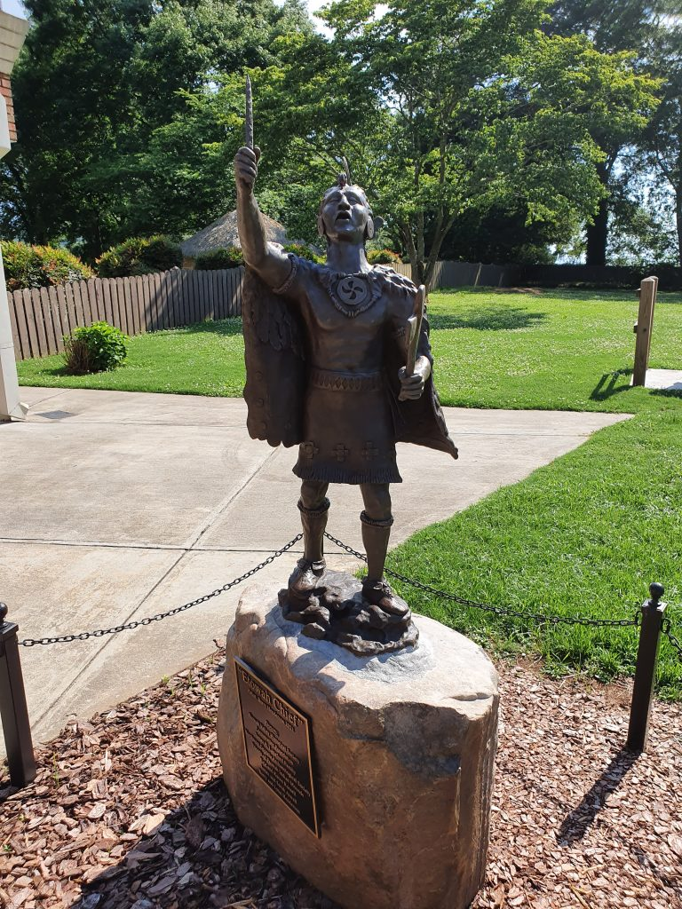 """Statue of """"Etowah Chief"""" by artist Barry Henderson 2021"""