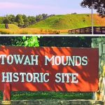 Etowah Native American Mounds Historic site entrance sign in Cartersville, Georgia
